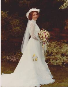 Sweet Deb on her wedding day