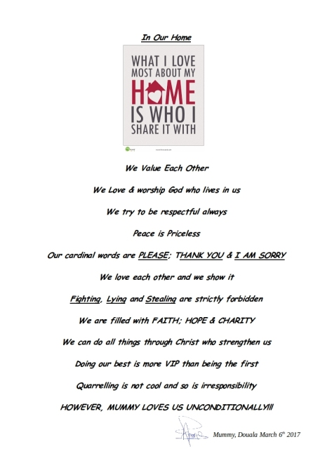 In our Home affirmation and rules