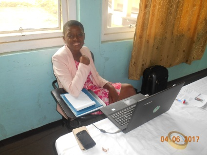 Marie Abanga getting ready for her presentation
