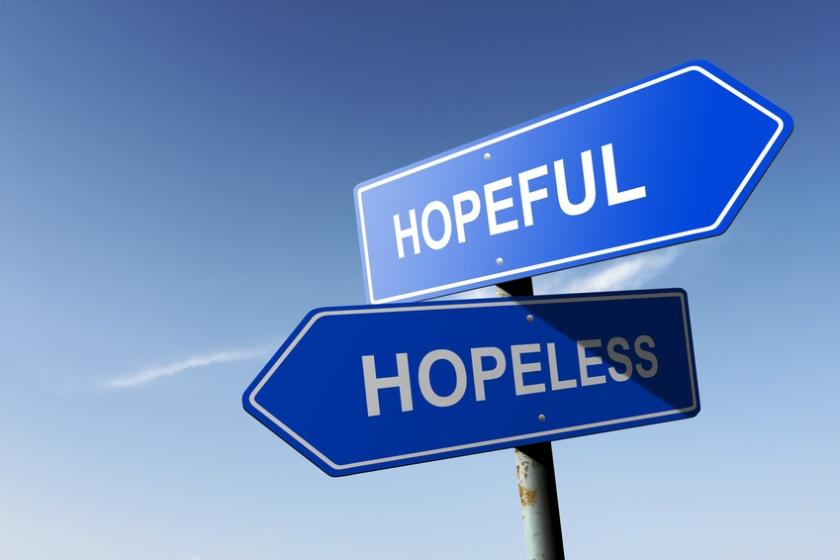 Hopeful and Hopeless directions.  Opposite traffic sign.